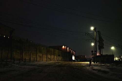 Evening night time nighttime street lights streetlights