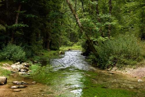 River stream waterfall idyll waterscape