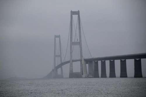 Bridge fog mist great belt bridge large