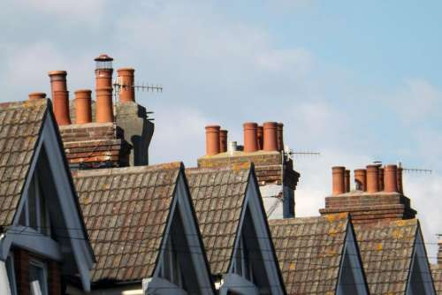 pitched roofs rooftops chimney pots chimneys roof