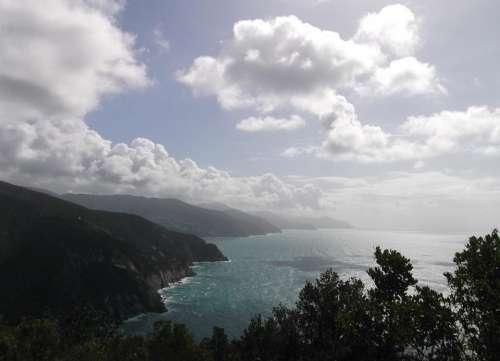 Bay lagoon ocean seashore clouds