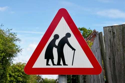 elderly sign warning old frail