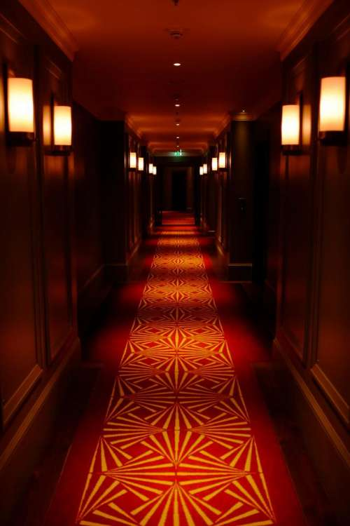 hotel corridor distance red dark