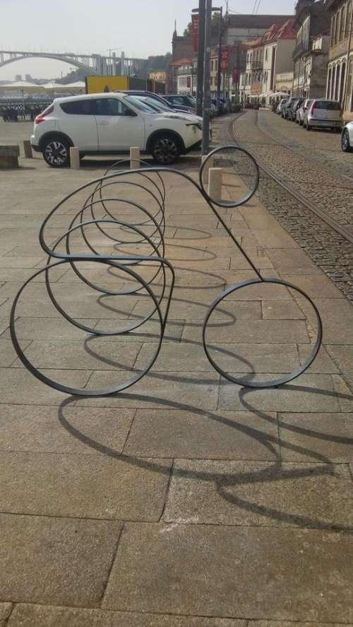 Bicycle rack bicycle shadow sculpture