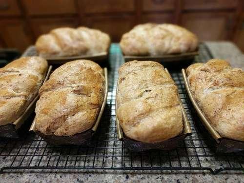 bread loaf baked food