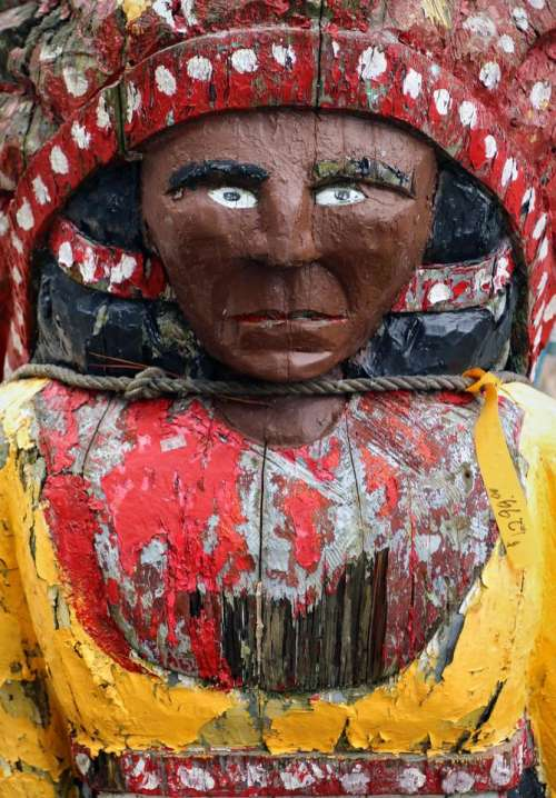 wooden wood indian chief statue