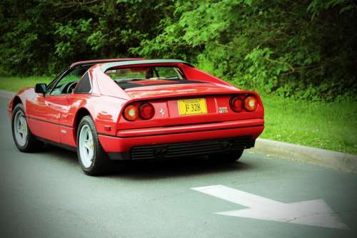 car automobile vehicle red Ferrari