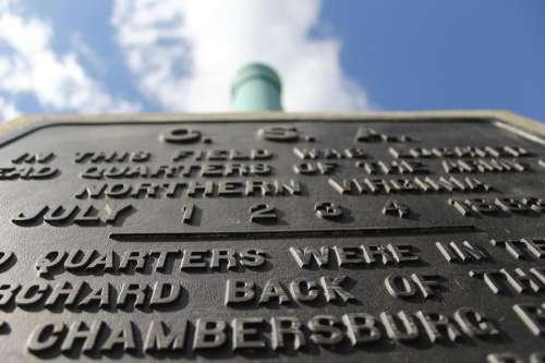 monument Gettysburg raised type words metal