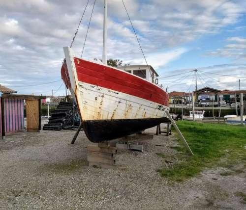 Boat fishing wreck trawler boatyard