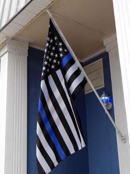 Blue Lives Matter flag police law enforcement blue light