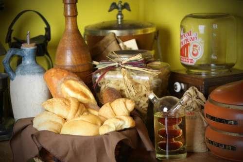 bread food basket vinegar cruet counter top