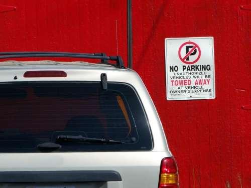 sign No Parking vehicle car automobile