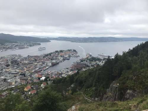 Norway Bergen aerial view from funicular viewpoint