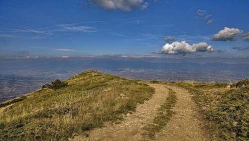 path panorama autumn clouds