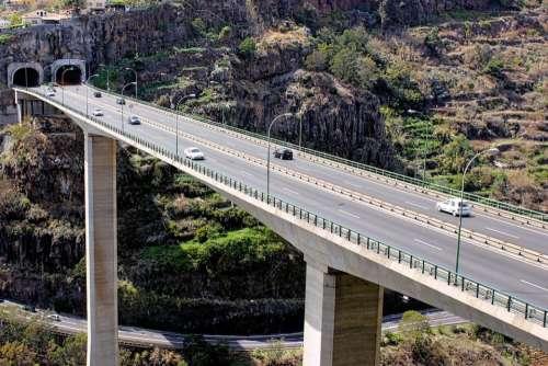 road viaduct bridge mountain motorway