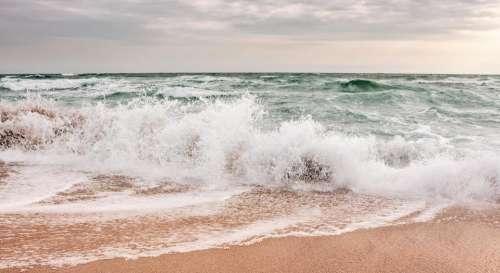 wave sea beach storm weather