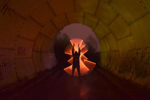tunnel illuminate silhouette reflection colorful