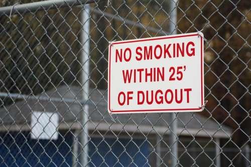 sign No Smoking dugout baseball softball