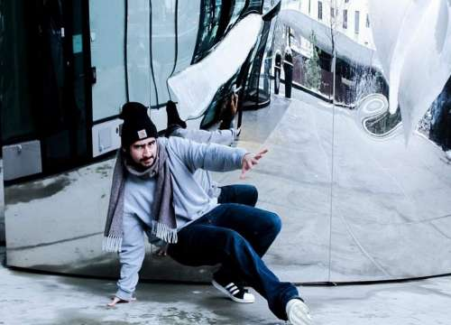 Bboy concrete footwork breaking winter