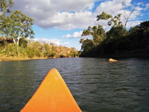canoeing river water landscape outback