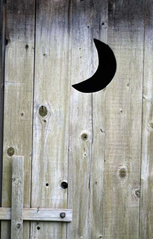 outhouse moon wood