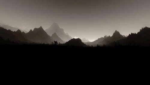 illustration mountains scenic monochrome gray