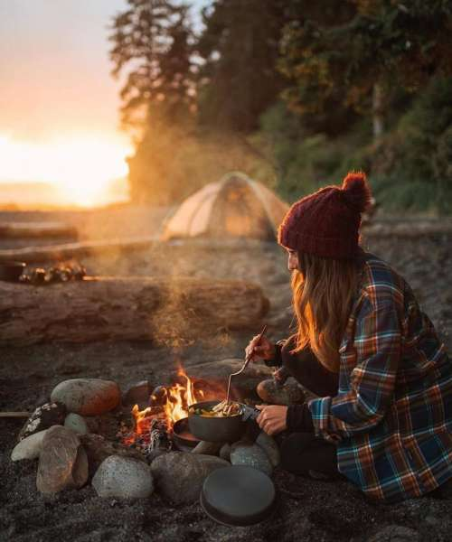 camping camp fire campfire cooking breakfast