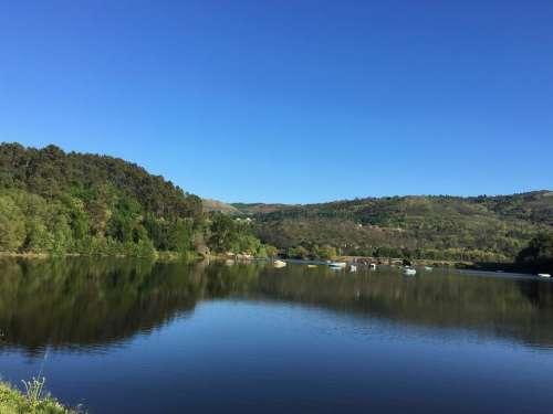 lake water reflection hills scenery