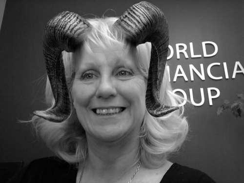 woman female smiling horns ram