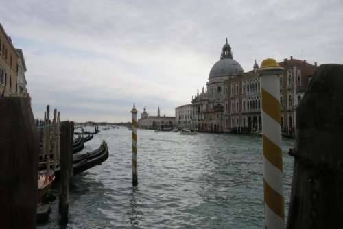 Venice canal Grand Canal Salute cloudy