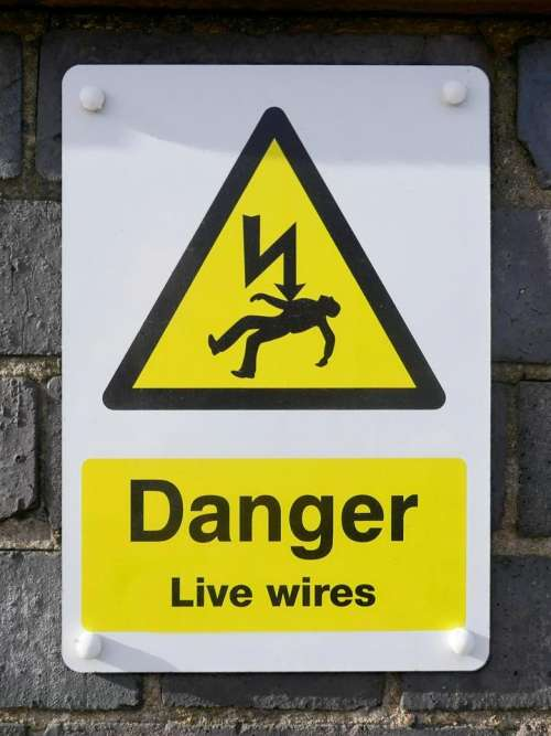 danger wires live electricity warning