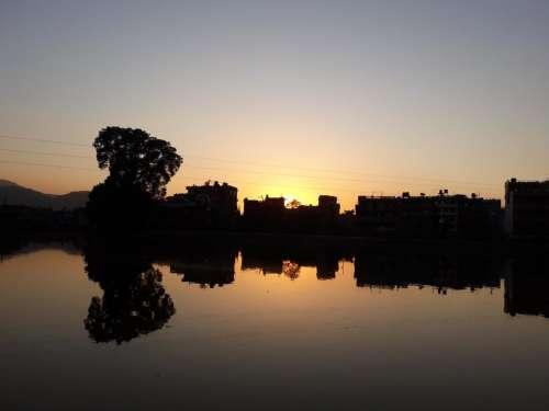 Water reflection sunset sunrise shore