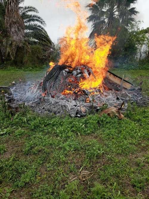 Fire flame flames burn pile rubbish