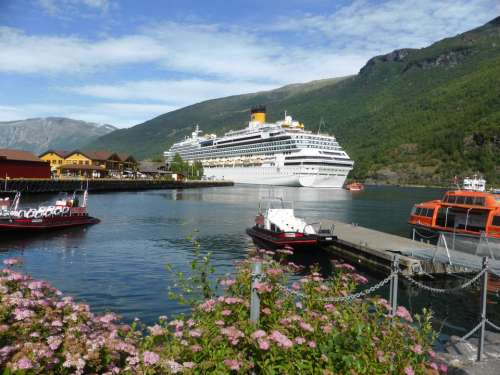 Cruise ship fjord Norway mountain scenic view