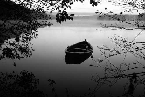 Boat rowboat lake water