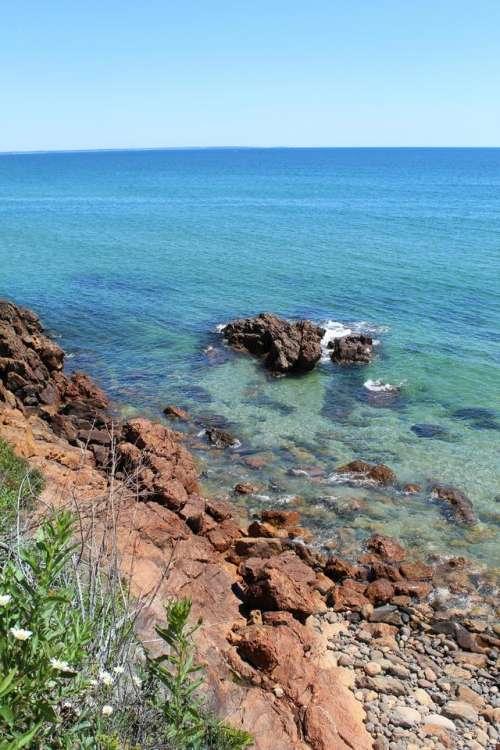Beach seashore ocean rocks Maine New England