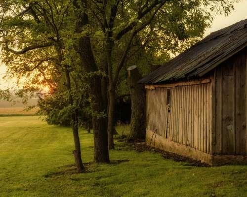 dawn morning country rural barn