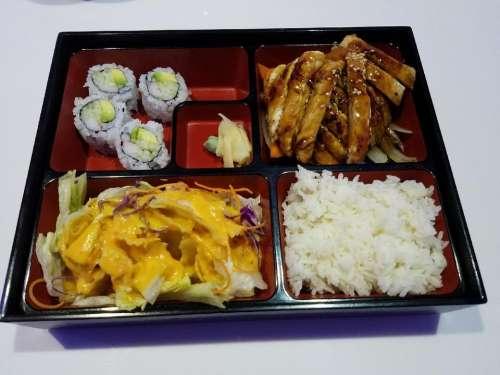 Japanese food bento box lunch chicken teriyaki rice
