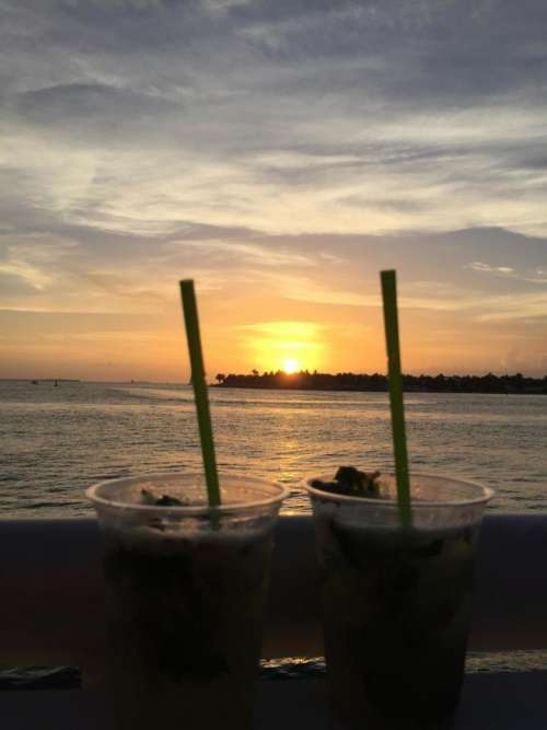 Sunset relaxation alcohol drinks