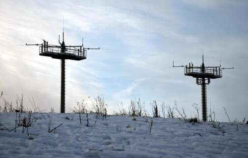 winter antenna landscape snow sky