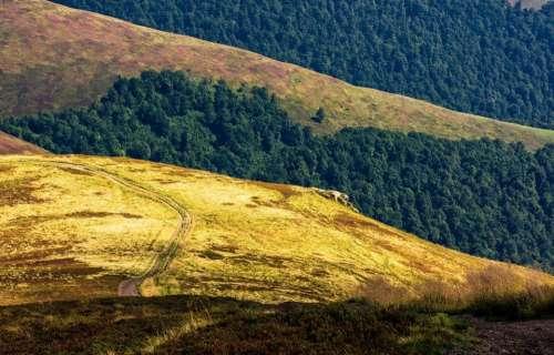 hill path uphill ridge mountain