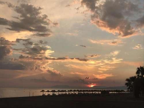 Costa del Sol sunset sky beach silhouette Torrox sunset