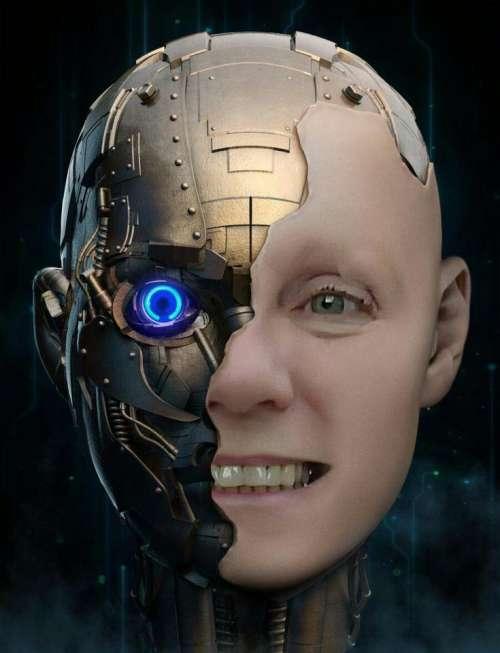 woman face female robot double exposure