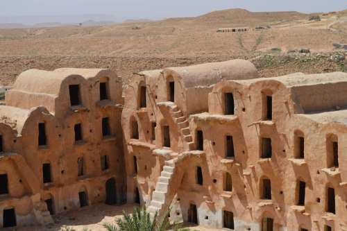 Adobe architecture housing desert dwelling
