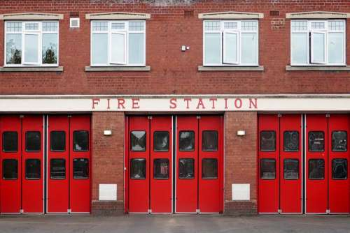 red doors fire fire station emergency