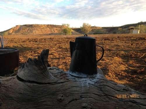 coffee coffee pot camping outback Australia