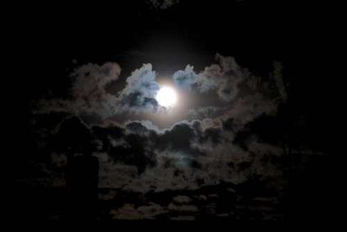 Moon in cloudy night