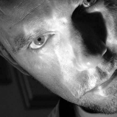 Self Portrait Black and White contemplative focused mysterious