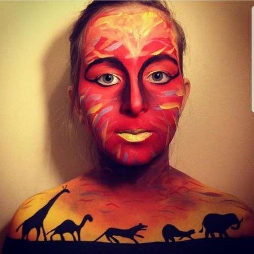 body paint Africa animals jungle