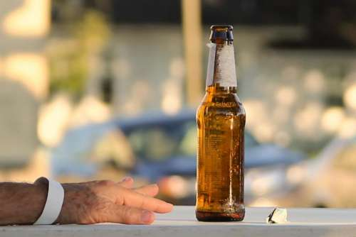 hand bottle beer alcohol
